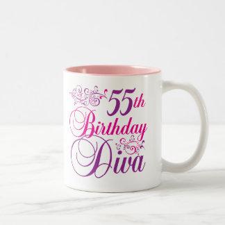 55 o Diva del cumpleaños Taza De Café