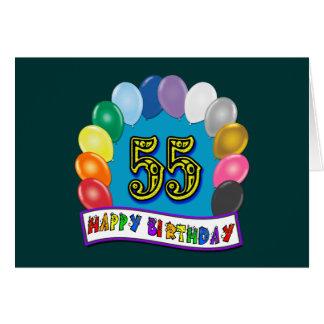 55.o El cumpleaños hincha la tarjeta del feliz cum