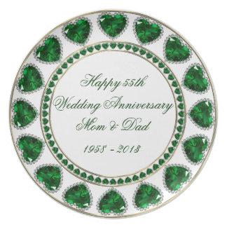 55.o Placa del aniversario de boda Platos Para Fiestas