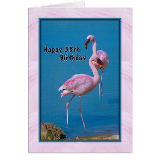 55.o Tarjeta de cumpleaños con el flamenco rosado