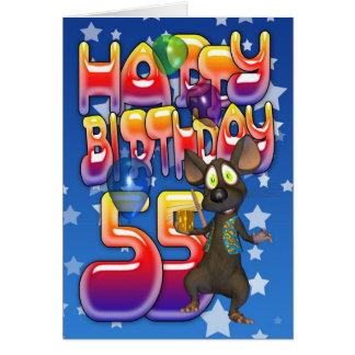 55.o Tarjeta de cumpleaños linda con el pequeño ra