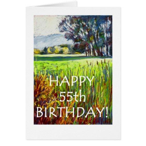 55.o Tarjeta de cumpleaños - tarde en los prados