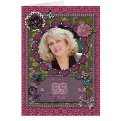55.o Tarjeta de la foto para un cumpleaños