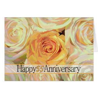 55.os rosas felices del aniversario tarjeta de felicitación