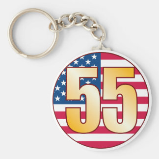 55 USA Gold Basic Round Button Keychain
