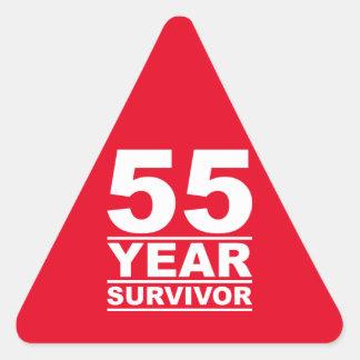55 year survivor triangle sticker