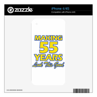 55 YEARS OLD BIRTHDAY DESIGNS DECALS FOR THE iPhone 4
