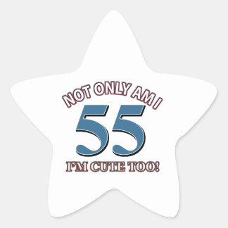 55 years Old birthday designs Star Sticker