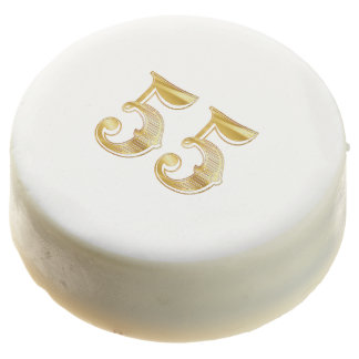 55th Anniversary 55 Birthday Gold White Cookie