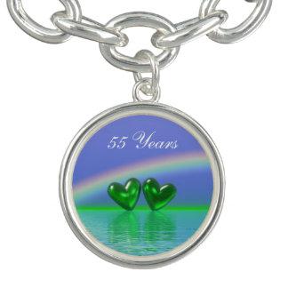 55th Anniversary Emerald Hearts Bracelet