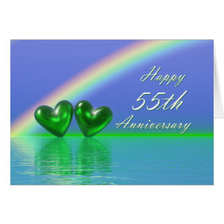 55th Anniversary Emerald Hearts Greeting Card
