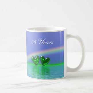 55th Anniversary Emerald Hearts Coffee Mug