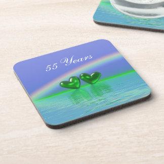 55th Anniversary Emerald Hearts Drink Coaster