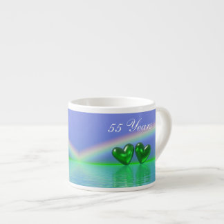 55th Anniversary Emerald Hearts Espresso Cup