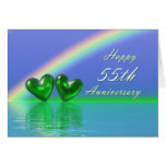 55th Anniversary Emerald Hearts Greeting Card