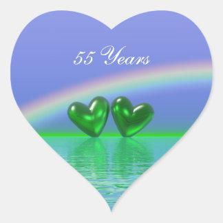 55th Anniversary Emerald Hearts Heart Sticker