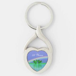 55th Anniversary Emerald Hearts Keychain