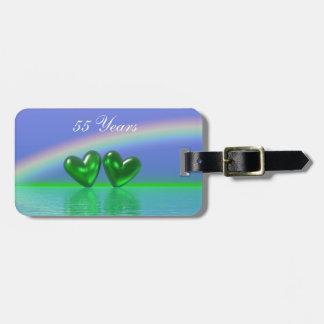 55th Anniversary Emerald Hearts Luggage Tag