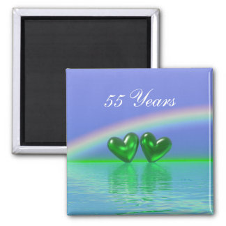 55th Anniversary Emerald Hearts Magnet