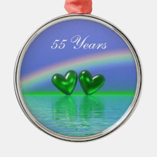 55th Anniversary Emerald Hearts Metal Ornament
