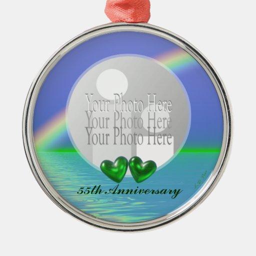 55th Anniversary Emerald Hearts (photo frame) Ornaments