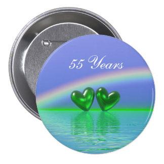 55th Anniversary Emerald Hearts Pinback Button