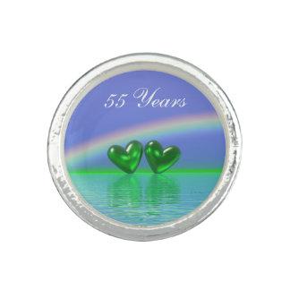 55th Anniversary Emerald Hearts Rings