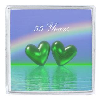 55th Anniversary Emerald Hearts Silver Finish Lapel Pin