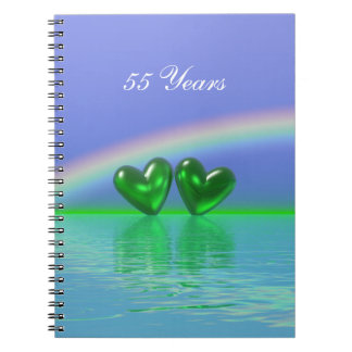 55th Anniversary Emerald Hearts Spiral Notebook