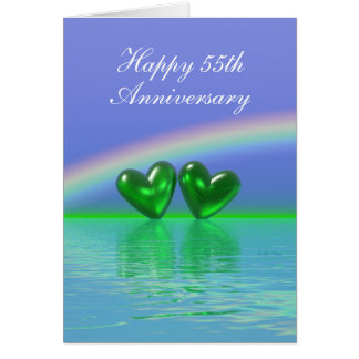 55th Anniversary Emerald Hearts (Tall) Greeting Card