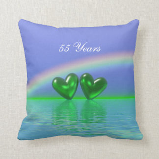 55th Anniversary Emerald Hearts Throw Pillow