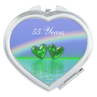 55th Anniversary Emerald Hearts Vanity Mirror