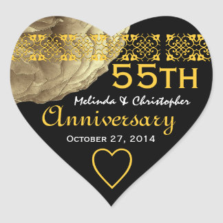 55th Anniversary GOLD Rose Heart Sticker