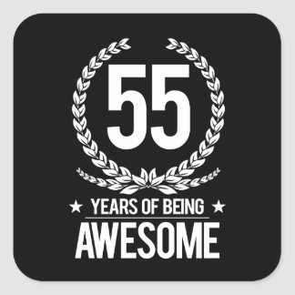 55th Birthday (55 Years Of Being Awesome) Square Sticker