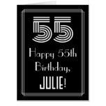 "[ Thumbnail: 55th Birthday — Art Deco Inspired Look ""55"" + Name Card ]"