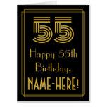 "[ Thumbnail: 55th Birthday: Art Deco Inspired Look ""55"" + Name Card ]"