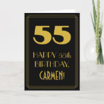 "[ Thumbnail: 55th Birthday – Art Deco Inspired Look ""55"" & Name Card ]"