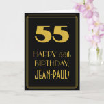"[ Thumbnail: 55th Birthday ~ Art Deco Inspired Look ""55"" & Name Card ]"