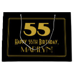 "[ Thumbnail: 55th Birthday — Art Deco Inspired Look ""55"" & Name Gift Bag ]"