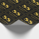 "[ Thumbnail: 55th Birthday – Art Deco Inspired Look ""55"" & Name Wrapping Paper ]"