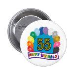 55th Birthday Balloons Design 2 Inch Round Button
