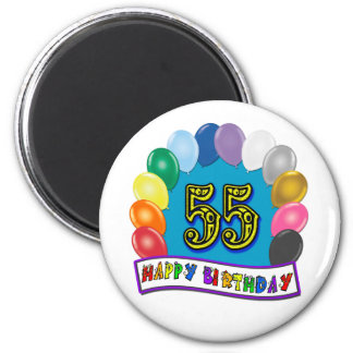 55th Birthday Balloons Design Magnet