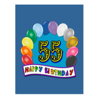55th Birthday Balloons Design Post Card