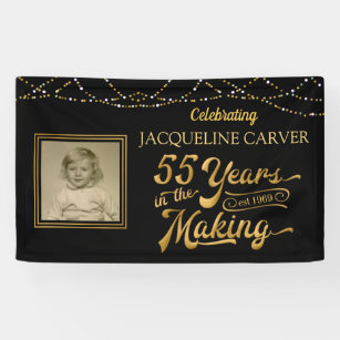 55th Birthday Black And Gold Photo Banner