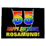 [ Thumbnail: 55th Birthday: Bold, Fun, Simple, Rainbow 55 Gift Bag ]
