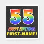 [ Thumbnail: 55th Birthday: Bold, Fun, Simple, Rainbow 55 Napkins ]