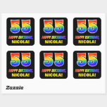 [ Thumbnail: 55th Birthday: Bold, Fun, Simple, Rainbow 55 Sticker ]