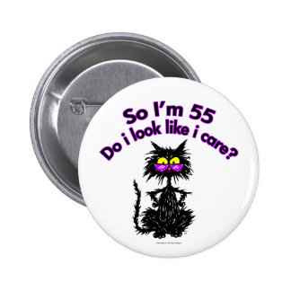 55th Birthday Cat Gifts Pinback Button