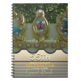 55th Birthday Celebration Carousel Guest Book Notebook