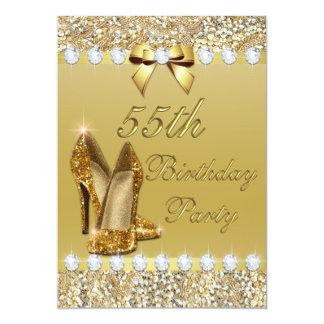 55th Birthday Classy Gold Heels Sequins Diamonds Card
